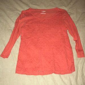 Orange lace embroidered 3/4 sleeve shirt